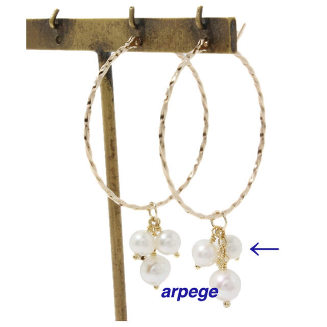 agete(アガット)のagete K10 パール ピアス イヤリング チャーム * 淡水パール 美品 レディースのアクセサリー(チャーム)の商品写真