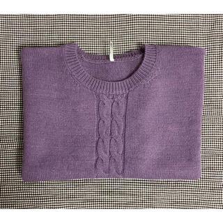 ディーホリック(dholic)の韓国 半袖ニット 編み模様 パープル(ニット/セーター)