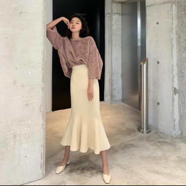 dholic(ディーホリック)のハイウエストニットマーメイドスカート ブラック レディースのスカート(ロングスカート)の商品写真