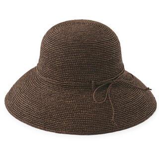 ムジルシリョウヒン(MUJI (無印良品))の新品未使用 無印良品 ラフィア つば広帽子 55から57.5cm・ブラウン(麦わら帽子/ストローハット)