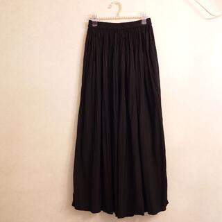 UNIQLO - ユニクロ ワッシャーサテンスカートパンツ S ブラック