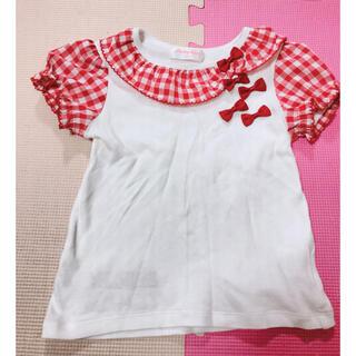 Shirley Temple - シャーリーテンプル  赤 ギンガム チェック リボン Tシャツ