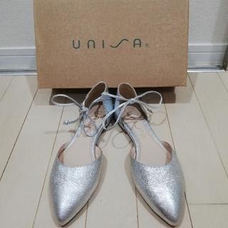 アイ(i)の新品【UNISA ウニサ】スペイン製シルバーサンダル/サイズ38、24.0cm(ハイヒール/パンプス)