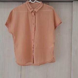 ユナイテッドアローズ(UNITED ARROWS)のユナイテッドアローズ オレンジ デザインシアーシャツ シースルー(シャツ/ブラウス(半袖/袖なし))