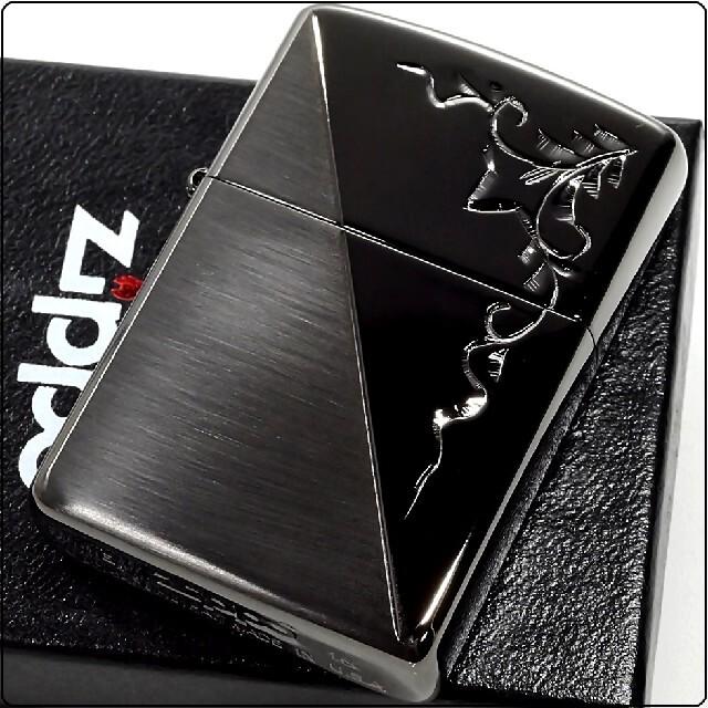 ZIPPO(ジッポー)の『送料無料』新品 ZIPPO◇手彫りアラベスク ブラックハーフ仕上げ ジッポ メンズのファッション小物(タバコグッズ)の商品写真