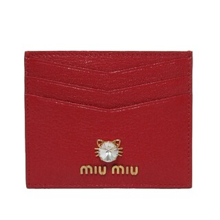 ミュウミュウ(miumiu)のミュウミュウ カードケース キャット モチーフ FUOCO(パスケース/IDカードホルダー)