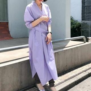 ナノユニバースnano universe夏用涼しいシャツワンピース薄紫色