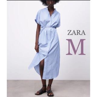 ZARA - 【新品・未使用】ZARA ストライプ  ミディ丈 ワンピース  M