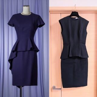 Christian Dior - 【美品】 ディオール Dior 濃紺 ネイビーペプラム ワンピース ドレス
