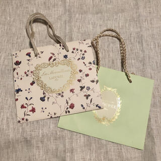 レメルヴェイユーズラデュレ(Les Merveilleuses LADUREE)の【新品】LADURÉE ショッパー 2枚セット ブランド紙袋(ショップ袋)
