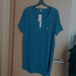 ユニクロ(UNIQLO)の新品 L ユニクロ イージー ワンピース (ブルー系) チュニック Tシャツ(チュニック)