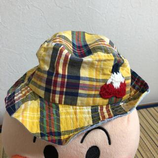 ベビー 帽子 チェック 黄色 46センチ(帽子)