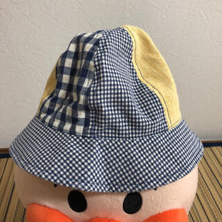 ベビー 帽子 チェック 青 紺 46センチ(帽子)