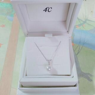 4℃ - 4℃K10 ホワイトゴールドダイヤモンドパールネックレス