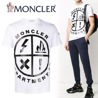 MONCLER - 120 MONCLER ホワイト ロゴ 半袖 Tシャツ size S
