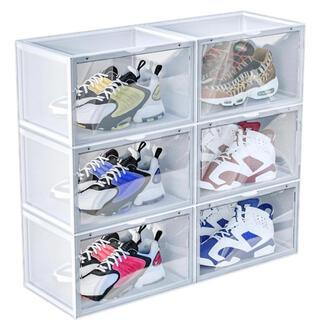 6個セット シューズケース 組立て式 磁石開閉式 積み重ね可能 靴箱 (玄関収納)