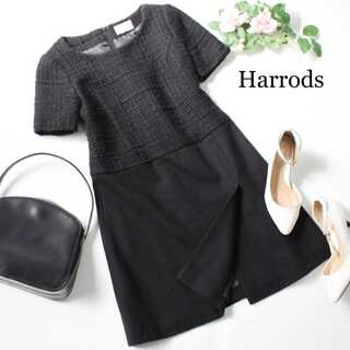 Harrods - ハロッズ★ツイード切替 ウール ワンピース 半袖 黒 ブラック 上品 2(M)