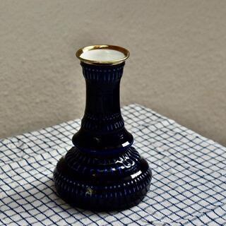 【CR2105-E1】コバルトブルーフラワー 花瓶 ヴィンテージ雑貨 KPM