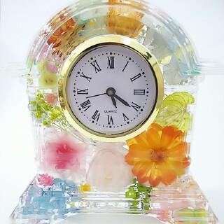 507ハーバリウム時計 ちょっとリッチな花咲く花時計 置き時計 贈答品(プリザーブドフラワー)