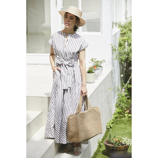 Drawer - セブンテン SEVENTEN ストライプシャツドレス ブラウン S