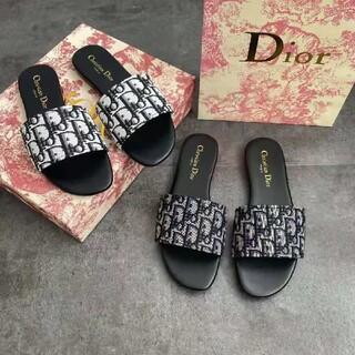 ディオール(Dior)のDior刺繍アルファベットスリッパ(サンダル)