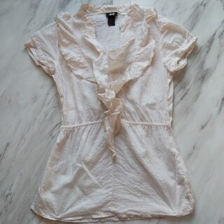 エイチアンドエム(H&M)のH&M ストライプ フリル シャツ 32(シャツ/ブラウス(半袖/袖なし))