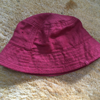 ムジルシリョウヒン(MUJI (無印良品))の麻 リネン 帽子 無印 朱色 57.5(帽子)