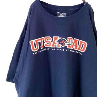 Champion - チャンピオン UTSA DAD ロゴ刺繍 Tシャツ ネイビー 紺 2XL 古着