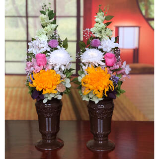 仏花【お供え花 】お供え クレモンマム花器つきアレンジ 一対 (プリザーブドフラワー)