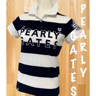 パーリーゲイツ(PEARLY GATES)のパーリーゲイツ 30周年限定  2段ロゴボーダー 半袖ポロシャツ  レディース(ウエア)
