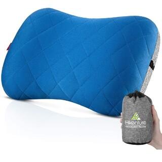 キャンプ枕  エアーピロー 携帯枕 トラベルピロー コットンカバー付き エアー(旅行用品)