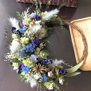 紫陽花とデルフィニウムのリース♡ドライフラワーリース