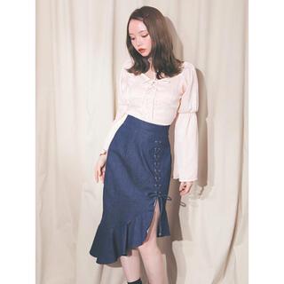 snidel - andmary♡フリルレースアップマーメイドデニムスカート