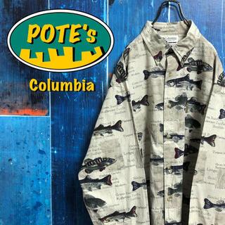 Columbia - 【コロンビア】フィッシュ柄テキストロゴ柄ロゴタグ総柄フィッシングシャツ