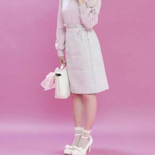 ロディスポット(LODISPOTTO)のロディスポット ミルキーチェックツイードスカラータイトスカート ピンク S(ひざ丈スカート)
