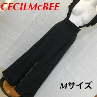 CECIL McBEE - CECILMcBEE 黒ハイウエストワイド吊りパンツ Mサイズ