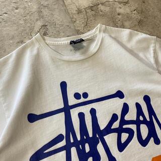 STUSSY - ステューシー 黒タグ バックプリントTシャツ 半袖 白 Lサイズ 古着