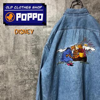 Disney - ディズニー☆くまのプーさんビッグキャラ刺繍デニムシャツ 90s