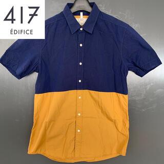 EDIFICE - 【417 EDIFICE】(エディフィス) バイカラー半袖シャツ 古着