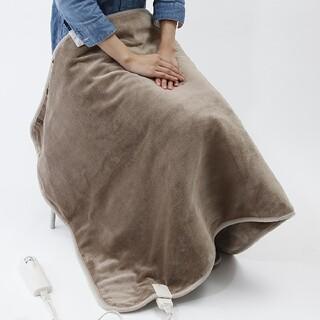MUJI (無印良品) - 格安★無印良品 羽織れる電気ひざ掛け・ライトブラウンマイクロファイバー