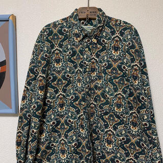 ART VINTAGE - 90s 総柄シャツ アートシャツ コットンシャツ ペイズリー柄 オーバーサイズ