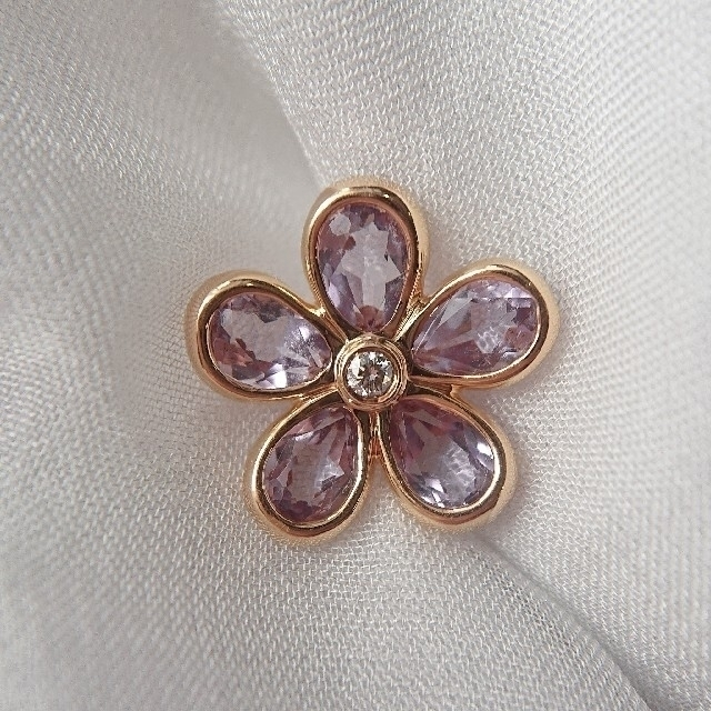 Tiffany & Co.(ティファニー)のティファニー アメジスト フラワー ピアス K18 ダイヤ ダイヤモンド レディースのアクセサリー(ピアス)の商品写真