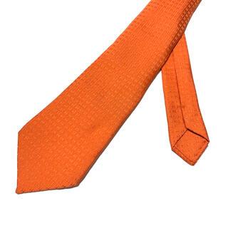 Hermes - 【良品】HERMES H柄 総柄 ネクタイ オレンジ フランス製 シルク