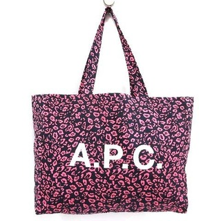 A.P.C - アーペーセー トートバッグ レオパード ヒョウ柄 総柄 ロゴ ピンク 紺