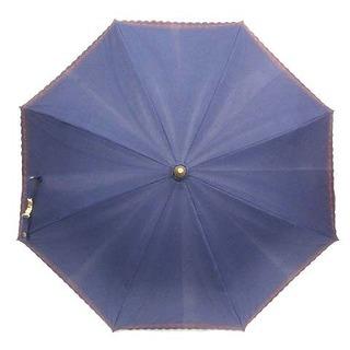セリーヌ(celine)のセリーヌ CELINE 雨傘 フリル 花柄 スカラップ 紺 ネイビー 茶(傘)