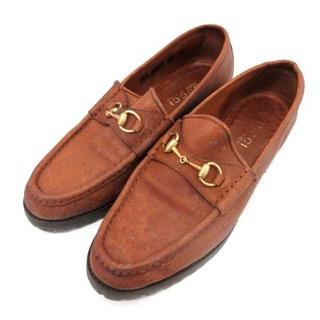 グッチ(Gucci)のグッチ ビットローファー スリッポン ホースビット レザー 38C 23cm 茶(ローファー/革靴)