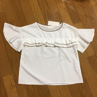 ロディスポット(LODISPOTTO)のロディスポット フロントフリル 半袖ブラウス タグ付き未使用品(シャツ/ブラウス(半袖/袖なし))