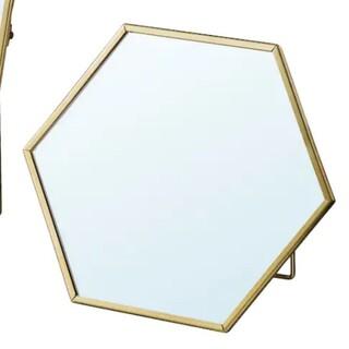 イケア(IKEA)の新品 IKEA ミラー LASSBYN ラスビーン 六角形(卓上ミラー)
