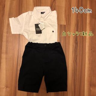 ユニクロ(UNIQLO)の140cm 男子 服セット 白シャツ+紺ズボン(その他)
