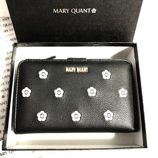 MARY QUANT - マリークワント 財布 ブラック二つ折り財布 デイジー刺繍ウォレット新品